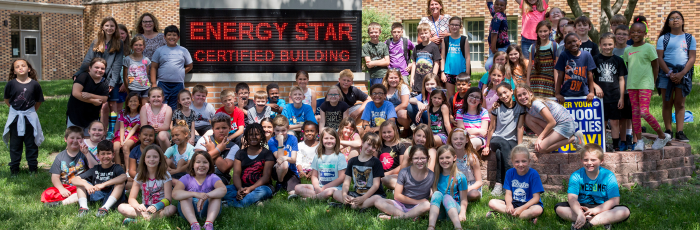 Phillips Elementary School Students Posing In Front of Building